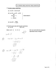 Section 6.5 Double and Half Angle Identities Notes