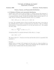 05. Poisson, Exponential, and Gamma distributions