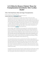Is it ethical to remove a patients heart for transplantation after cardiac death.docx