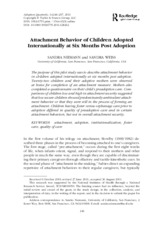 Item 4 - Attachment Behavior of Children Adopted Internationally at six months post adoptions
