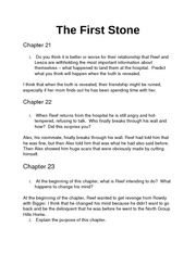 The First Stone Chapter 21-24 Homework Questions