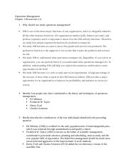 Operations Mgt. Chapter 1 Discussion questions 1-4