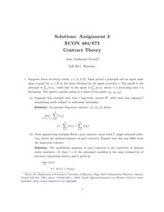 ECON 484 Fall 2011 Assignment 3 Solutions