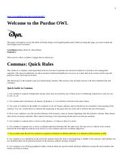 Comma Quick Rules