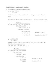 Math 105Long Division I  Supplement II Solutions
