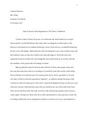 Stem Cell and Tissu eRegeneration Essay