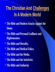 3-The Christian And Challenges In A Modern World.ppt