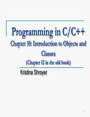 Chapter 10 - Object Oriented Programming