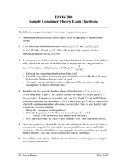 Sample Consumer Theory Exam Questions