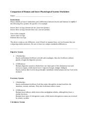 Comparison of Human and Insect Physiological Systems Worksheet