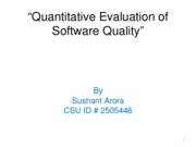 Quantitative Evaluation of Software Quality slides