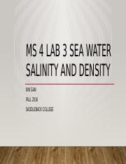 MS 4 Lab 3 Sea Water Salinity and Density lecture