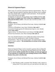 Historical Argument Papers 2012