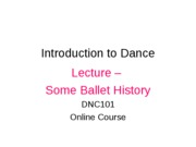 Lecture - Some Ballet History
