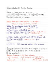 Linear Algebra Revision
