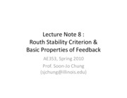 Lect8 - Routh stability, properties of feedback