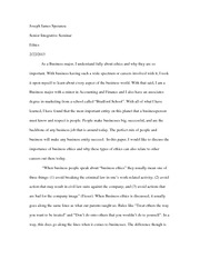 Ethics Paper Essay Integrated Seminar