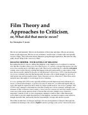 Semiotics Of Cinema Deconstruction As A Method Of Film Criticism The Researcher Course Hero
