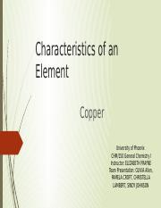 Characteristics of and Element Copper (1) Team D (1)