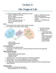 Lecture 2 - The Origin of Life