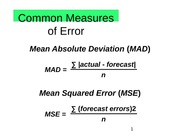 Common Measures of Error
