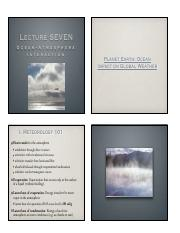 Lecture Seven Ocean-Atmosphere Interaction