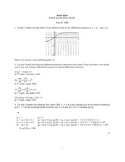 Midterm Exam 1 Solution Summer 2003 on Ordinary Differential Equations