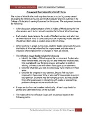 Habits of Mind Reflective Essay Assignment Description