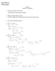 Caluclus Section 3.1 Worksheet