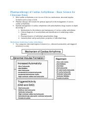 Pharmacotherapy of Cardiac Arrhythmias – Basic Science for Clinicians Notes.docx