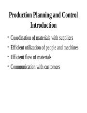 1. Production Planning and control (PPC)