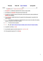 MATH 140 Spring 2014 Quiz 2 Solutions