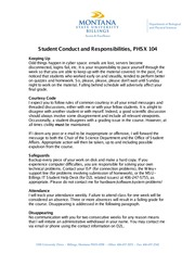 Student Conduct and Responsibilities