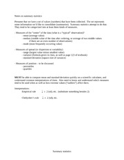 summary statistics notes