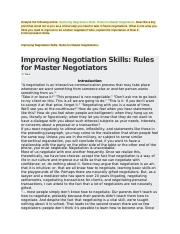 Improving Negotiation Skills Rules for Master Negotiations.docx