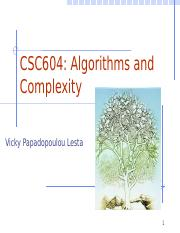 CSC604 Algorithms and Complexity