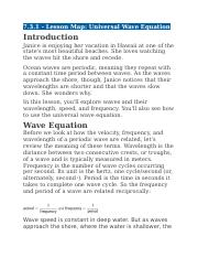 7.3.1 - Lesson Map - Universal Wave Equation