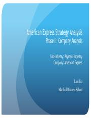 American Express Strategy Analysis -- Phase II
