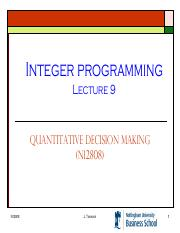 Lecture 9 - Integer Programming