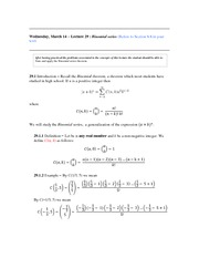 Lecture 29 (Binomial Series)