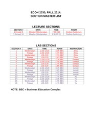 Econ 2030 Fall 2014 Section Master List (1)