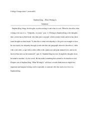 Writing Comp. Stephen King - What writing is Chapter one Summary.docx