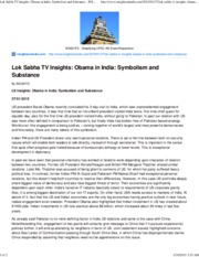 Lok Sabha TV Insights_ Obama in India_ Symbolism and Substance - INSIGHTS