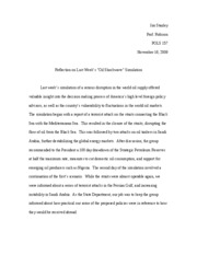 Simulation Response Paper