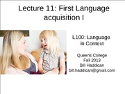 Lecture 11 First Language Acquistition
