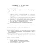 Study Guide for Exam 1 - Multivariable Calculus