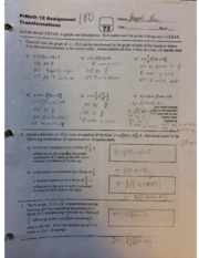 Pre-Calculus 12 Transformations Assignment