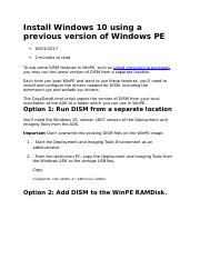 Install Windows 10 using a previous version of Windows PE