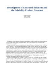 determination of the solubility product constant for a sparingly soluble salt lab report Determination of ksp for a sparingly soluble salt  determination of the solubility product constant of  discussion report: determination of the solubility.