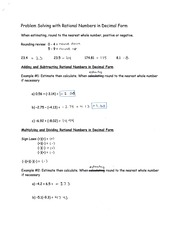 Problem Solving with Rational Numbers in Decimal Form